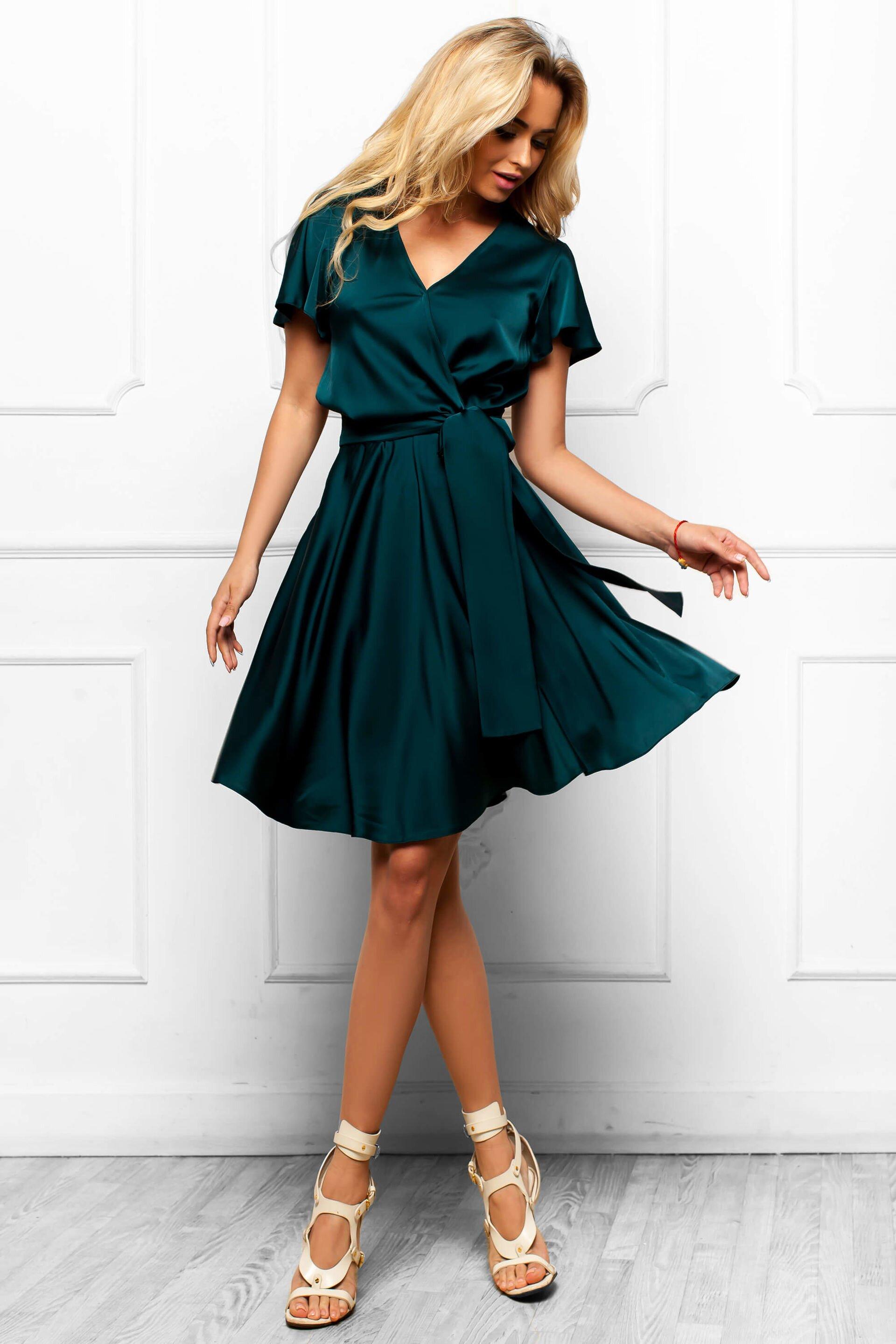 c4a209dd937 Шикарное Атласное Платье с Юбкой Солнце Изумрудное S-XL купить в ...