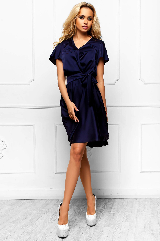 61510a591a5 Шикарное Атласное Платье с Юбкой Солнце Темно-Синее S-XL купить в ...