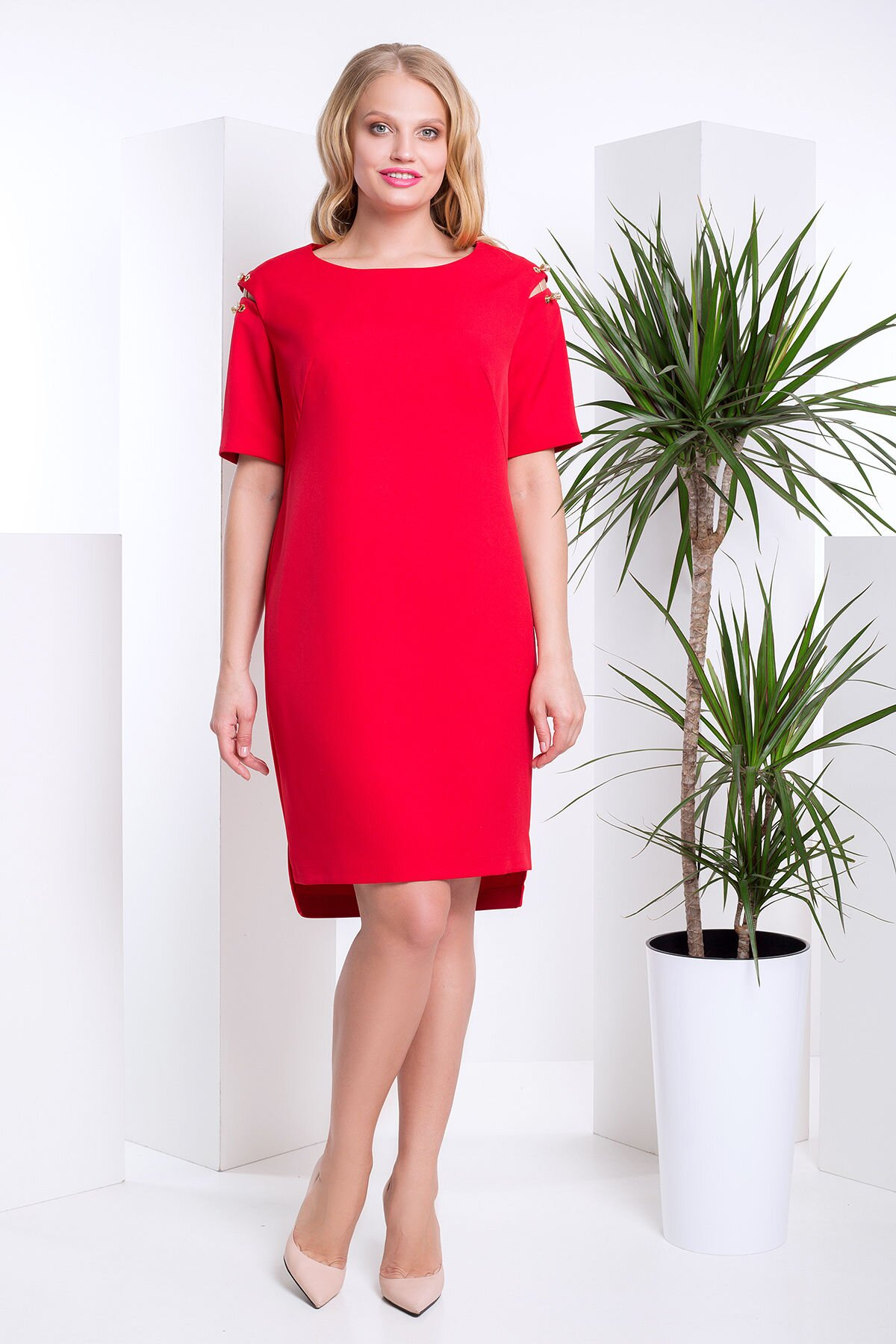 d21ba2518e0 Красивое Платье на Весну с Удлиненной Спинкой Большого Размера ...