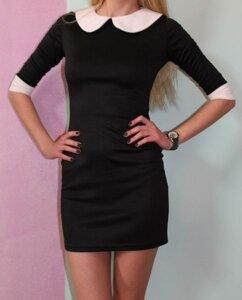 Платье Черное Белый Воротник С Доставкой