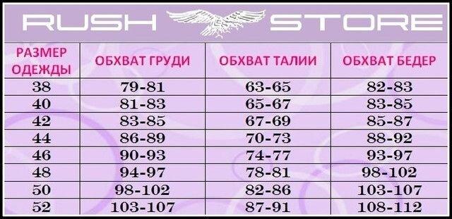 Размерная таблица на женскую одежду