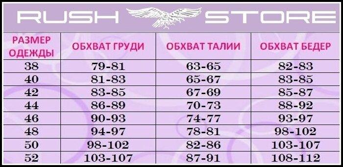 Размерная таблица женская