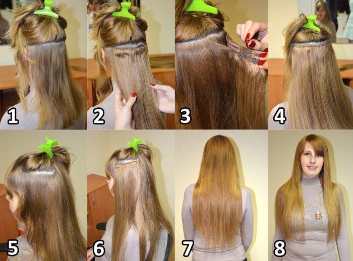 Прически из накладных волос на заколках на короткие волосы