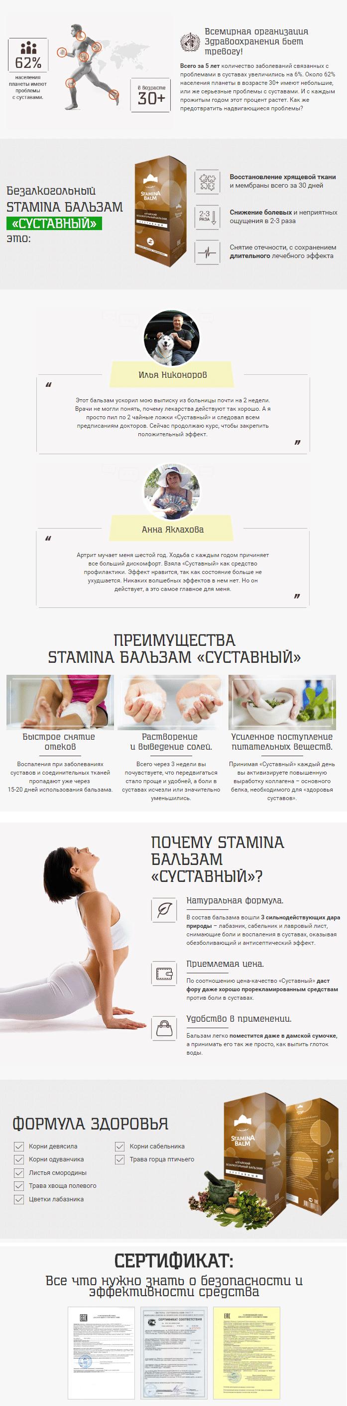 стамина (Stamina) бальзам для суставов и спины    купить