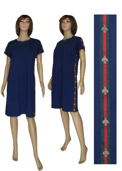 a0d94fb8439 Летнее женское трикотажное платье 19017 Gucci Dark Blue стрейч-коттон
