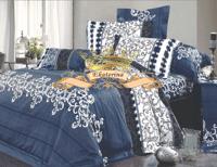 Синьо-сірий комплект постільної білизни Бязь Люкс односпальний з орнаментом 9d97f454980f9