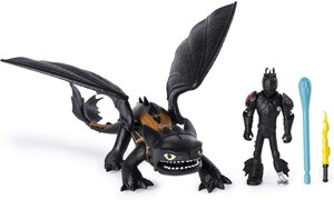 Дракон Беззубик и виккинг Иккинг Dreamworks Dragons Toothless & Hiccup Dragon with Armored Viking Figure