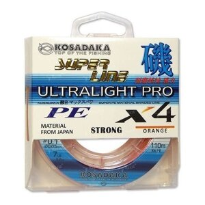 Шнур Kosadaka Ultra Pro X4 0.10mm 110m Orange