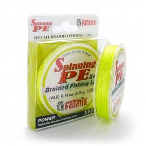 Шнур FANATIK Spinning PE X4 120 m (#1.0) 0.16 mm 8.1 kg Yellow