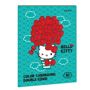 Картон цветной двосторонний Kite (10лист/10цвет), А4 Hello Kitty HK21-255