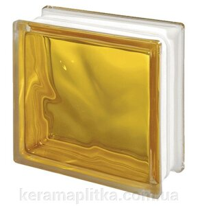 Стеклоблок 1908/w Yellow Glass Wave 19х19х8