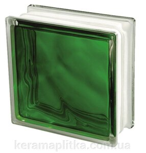 Стеклоблок 1908/w Green Emerald Wave 19х19х8