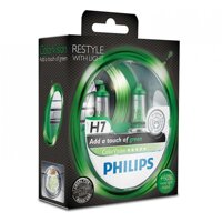 Лампа галогенная Philips H7 ColorVision Green, 3350K, 2шт/блистер 12972CVPGS2