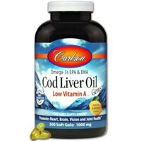 "Carlson Labs, Cod Liver Oil Gems, Low Vitamin A, Natural Lemon Flavor, 1,000 mg, 300 Soft Gels в Киеве от компании ""Полезный витамин"""