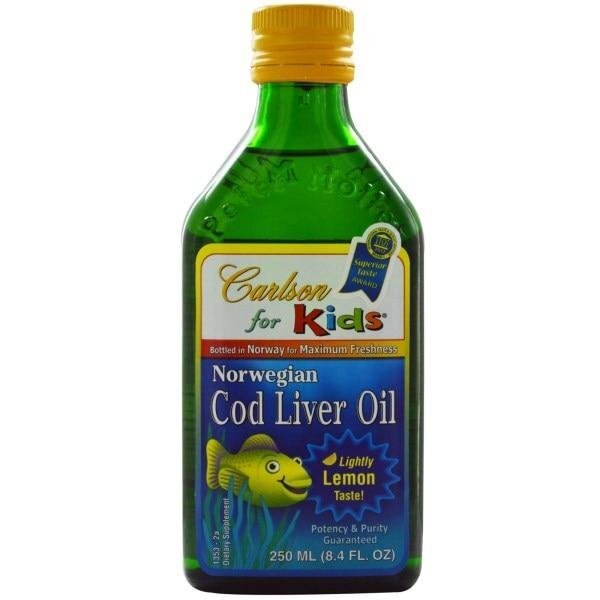 "Carlson Labs, Kids, Norwegian Cod Liver Oil, Natural Lemon Flavor, 8.4 fl oz (250 ml) ##от компании## ""Полезный витамин"" - ##фото## 1"