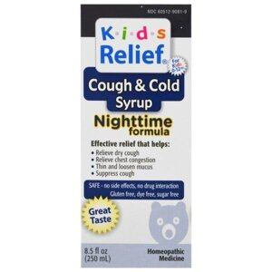 "Homeolab USA, Kids Relief, Cough & Cold, Nighttime Formula, 8.5 fl oz (250 ml) от компании ""Полезный витамин"" - фото"