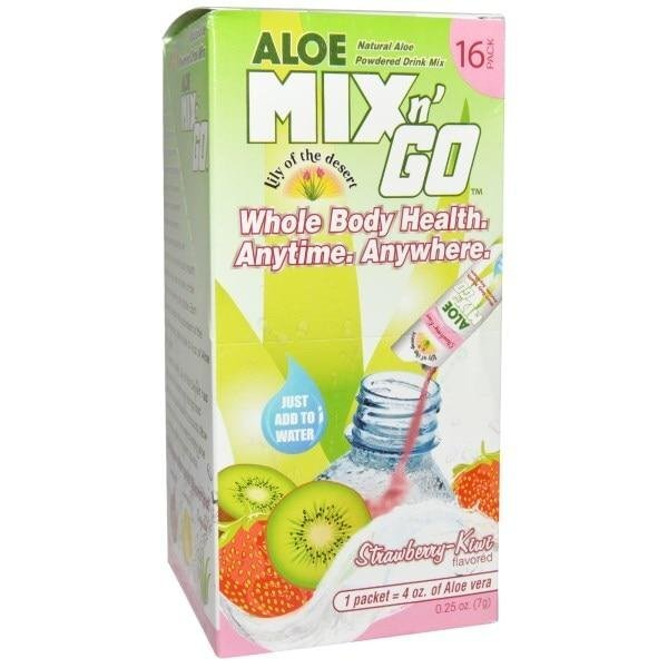 "Lily of the Desert, Aloe Mix n Go, Natural Aloe Порошокed Drink Mix, Strawberry-Kiwi Flavored, 16 Packs, 4 oz (0.5 g) Ea ##от компании## ""Полезный витамин"" - ##фото## 1"