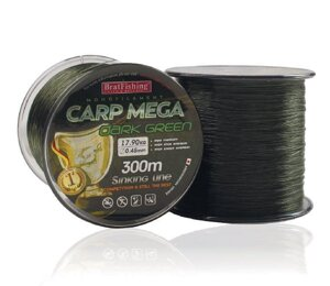Леска BratFishing Carp Mega Dark Green 300м 0,22мм