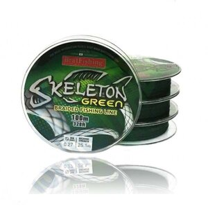 Шнур BratFishing Skeleton Green X4 100м 0,08мм