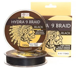 Шнур BratFishing Aborigen Hydra 9 Braid Black 150м 0,05мм