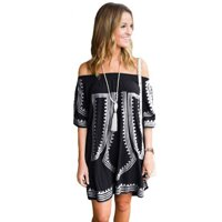 Black Bohemian Vibe Geometric Print Off The Shoulder Beach Dress
