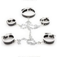 Leather Neck Hand-foot Linked Cuffs White