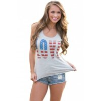 Love The Stars&Stripes Casual Grey Tank Top