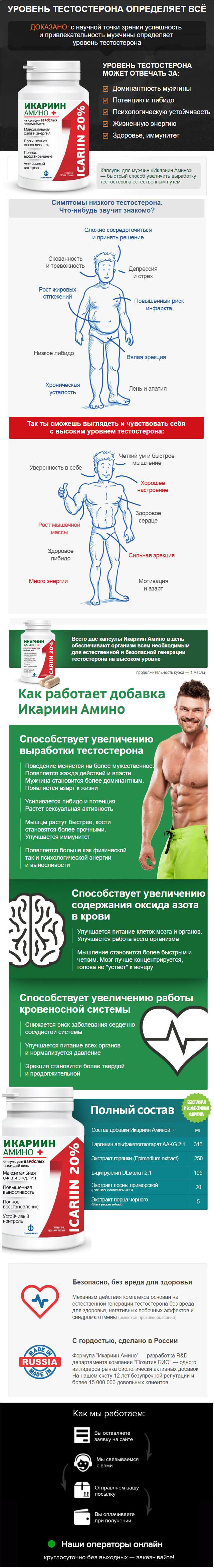 капсулы Икариин Амино для повышения тестостерона купить