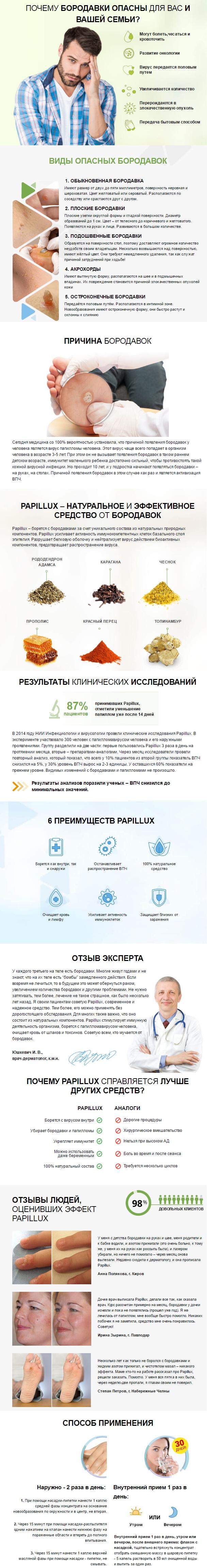 препарат от папиллом и бородавок Papillux (Папилюкс) купить
